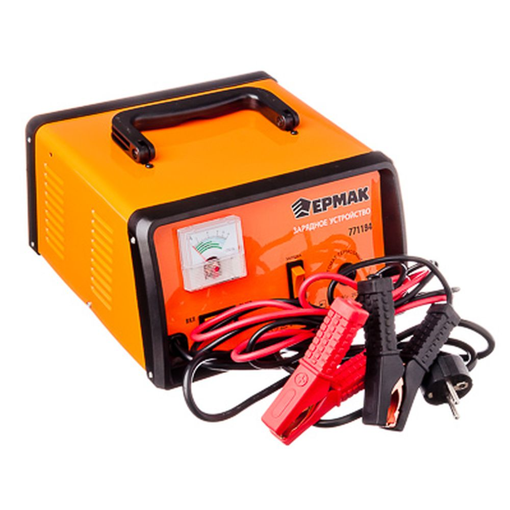 ЕРМАК Зарядное устройство трансформаторное автомат, с функцией jump-start, 15A, 12В, метал