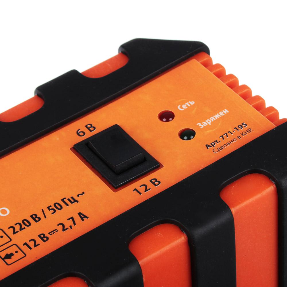 Зарядное устройство импульсное, автомат, 2.7 A, 6В/12В, пластиковый корпус, ЕРМАК