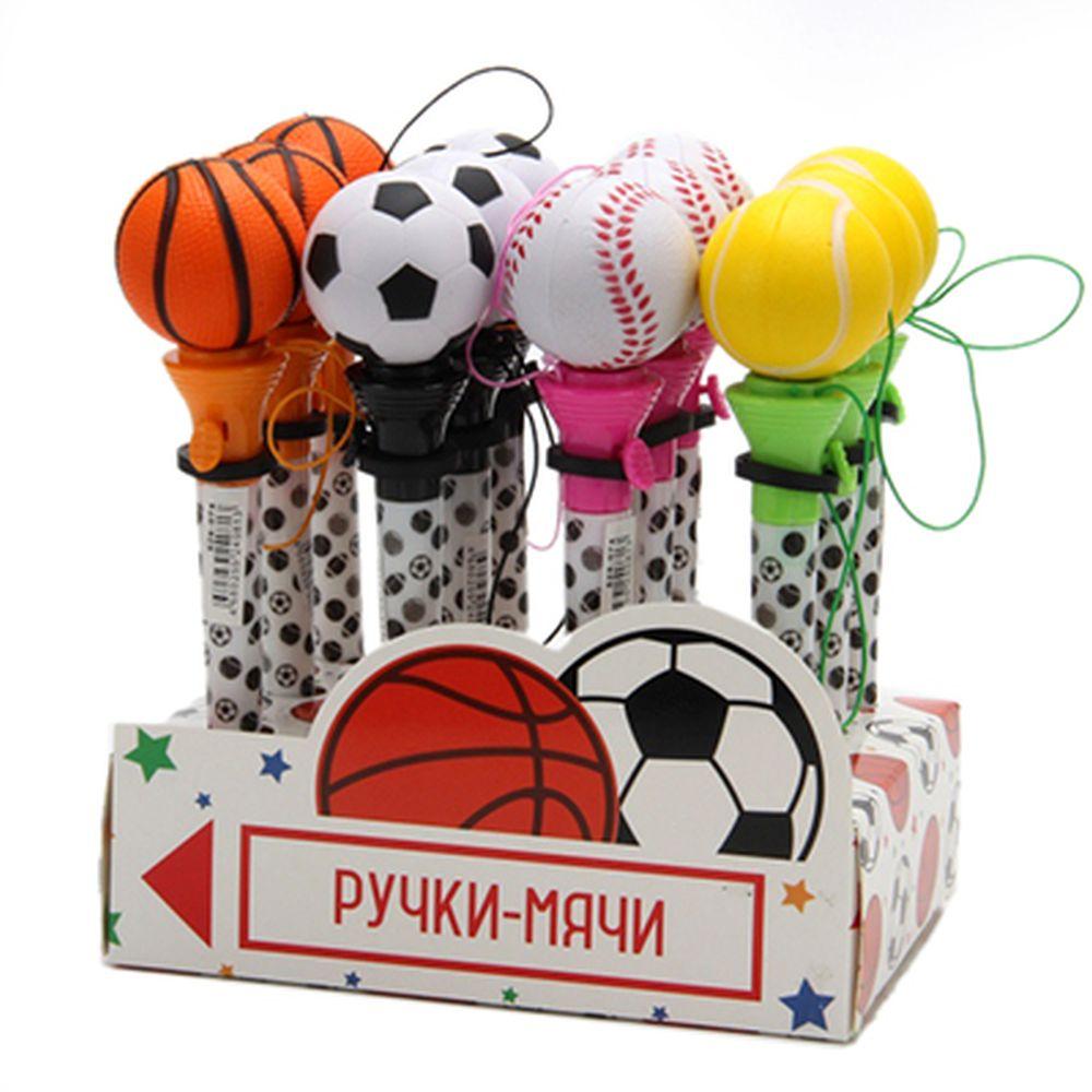 "Ручка шариковая ""Мяч-попрыгун"" 17см, пластик, 4 вида"