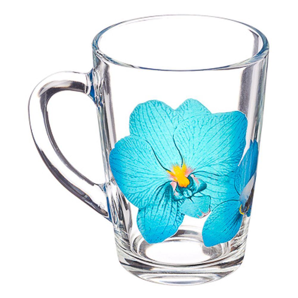 """ОСЗ Кружка стеклянная, 300мл, """"Орхидея синяя"""", 07с1334-45"""