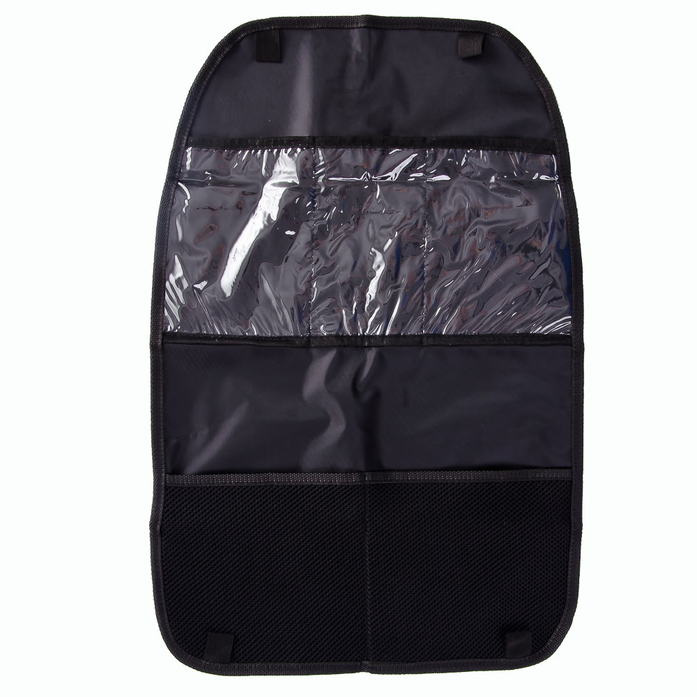 NEW GALAXY Защита спинки сиденья авто от детских ножек, 5 карманов из ткани + прозрачный ПВХ,60х40см