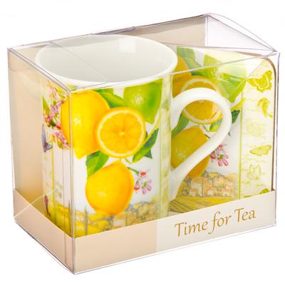 """Набор чайный 2 пр. кружка 275мл с подставкой, фрф, подар.уп, """"Лимоны"""", M05CQ-T07"""