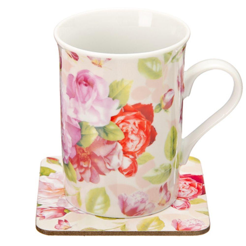 """Набор чайный 2 пр. кружка 275мл с подставкой, фрф, подар.уп, """"Розы"""", M05D2-R059"""