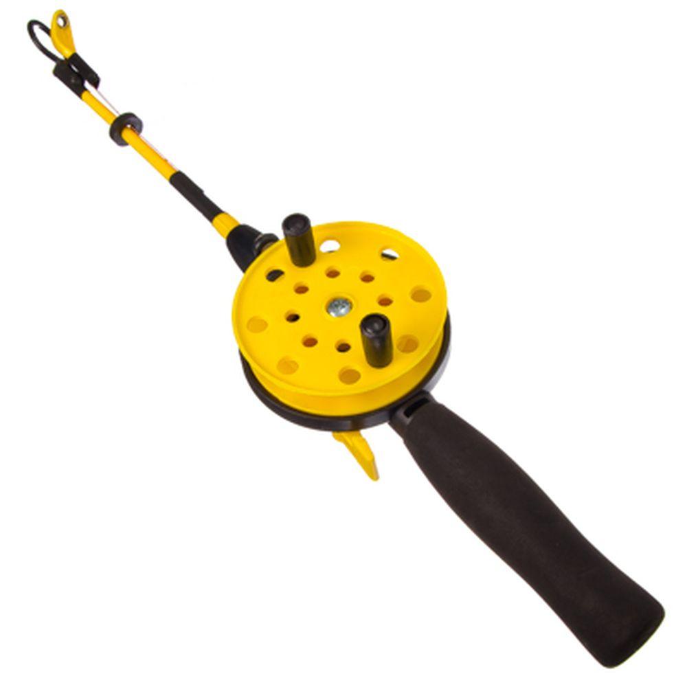 Удочка для зимней рыбалки 35см, с катушкой, хлыст с кивком, файбергласс
