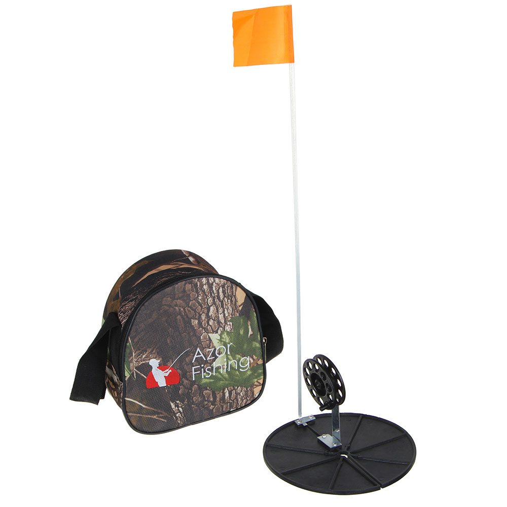 Набор для зимней рыбалки 10 комплектов (жерлица 18см, катушка 7см,флажок, в сумке)