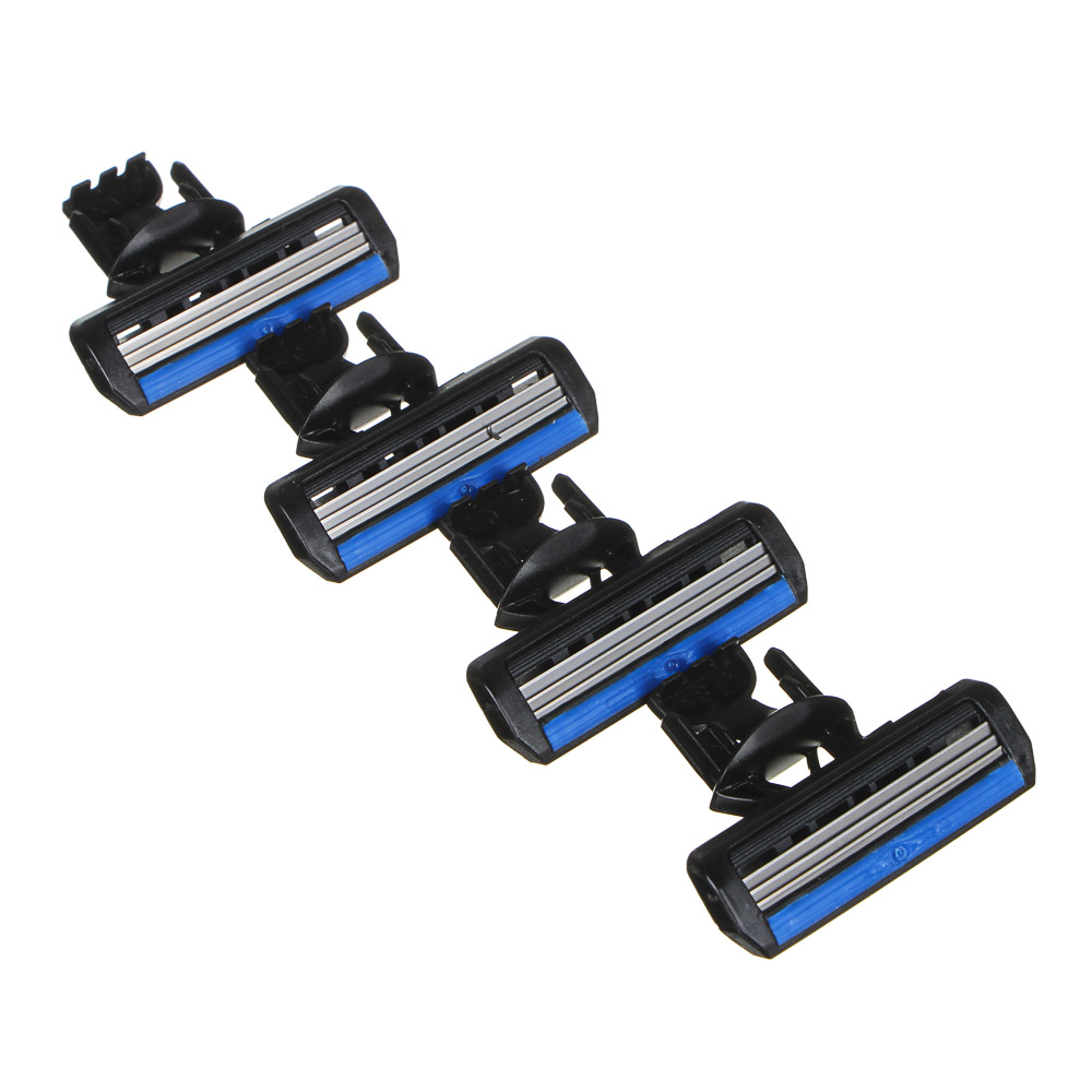 Кассеты сменные для бритвенного станка с тройным лезвием 4шт, силикон, пластик