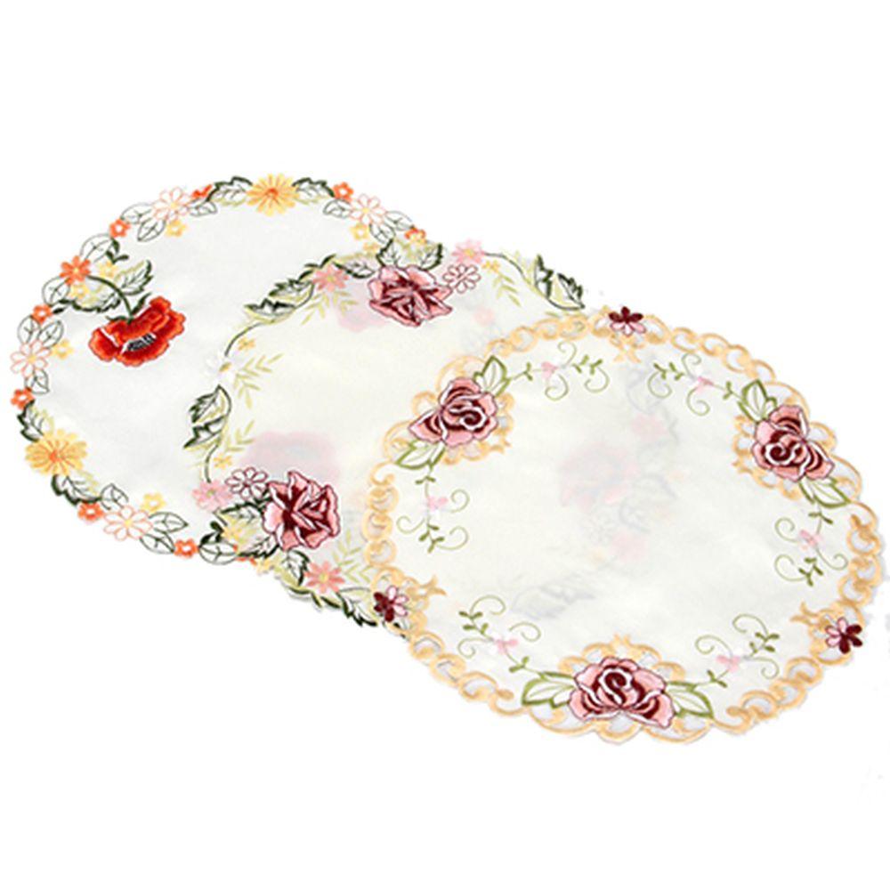 """Салфетка для сервировки стола с вышивкой круглая, d35см, """"VETTA"""""""