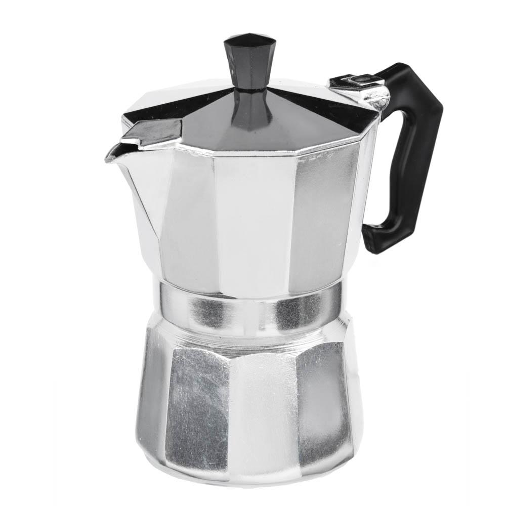 Кофеварка гейзерная, 3 чашки, алюминий(SGS), пластиковая ручка