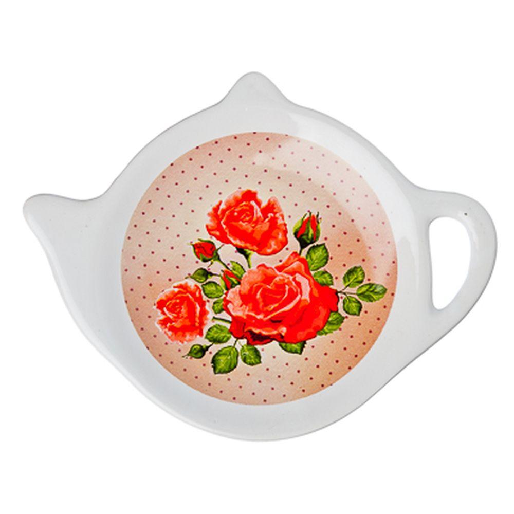 """Подставка для чайных пакетиков, керамика, 12,5x8x0,96см, """"Майская роза"""", дизайн GC"""