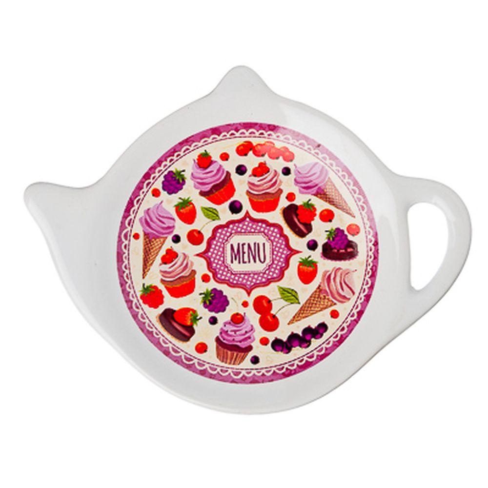 """Подставка для чайных пакетиков, керамика, 12,5x8x0,96см, """"Меню"""", дизайн GC"""