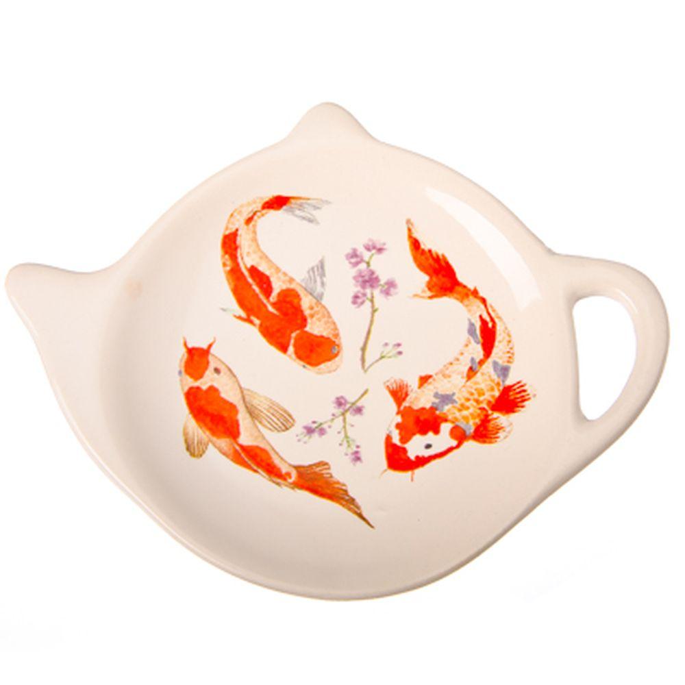 """Подставка для чайных пакетиков, керамика, 12,5x8x0,96см, """"Японский пруд"""""""