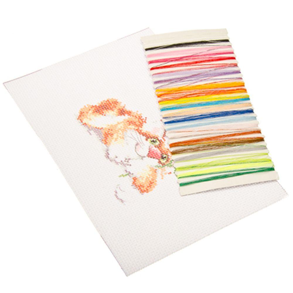 """Набор для вышивки 14х21см """"Милые животные"""" (канва, нитки мулине, игла), 8 дизайнов"""
