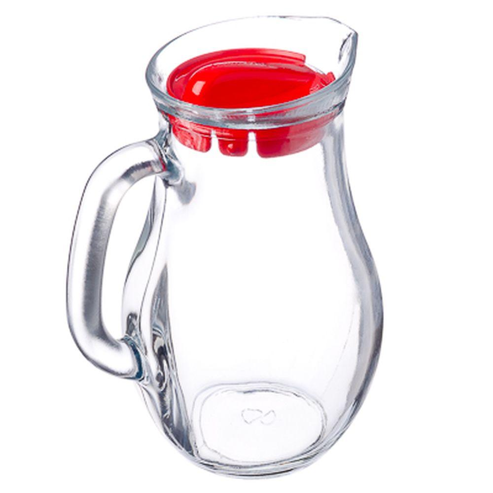 """PASABAHCE Кувшин 1000мл, с красной пластиковой крышкой, """"Bistro"""", стекло, 80102SLB"""