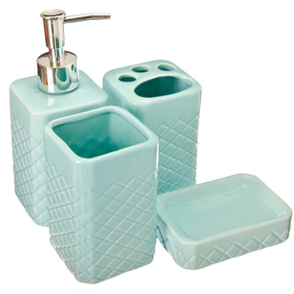 """Набор для ванной 4 предмета, керамика, голубой, VETTA """"Марокко"""""""