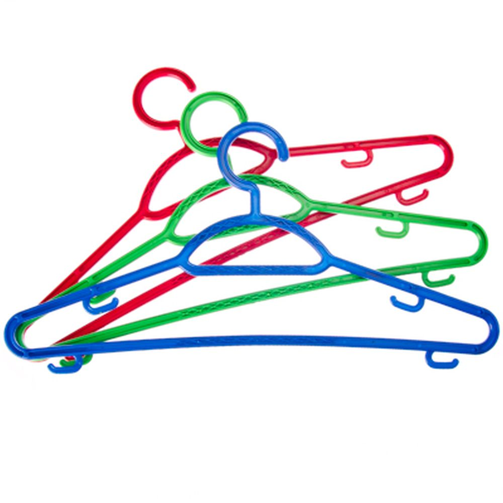 Набор вешалок тонких 3 шт, пластик, р.46-48, цветная, Р2904НС/2904СЗ