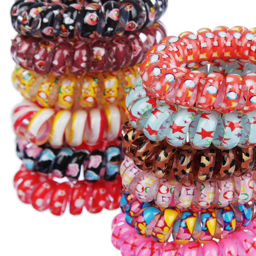 Набор резинок-спиралей с узором 2шт., пластик, d4 см, 6 цветов
