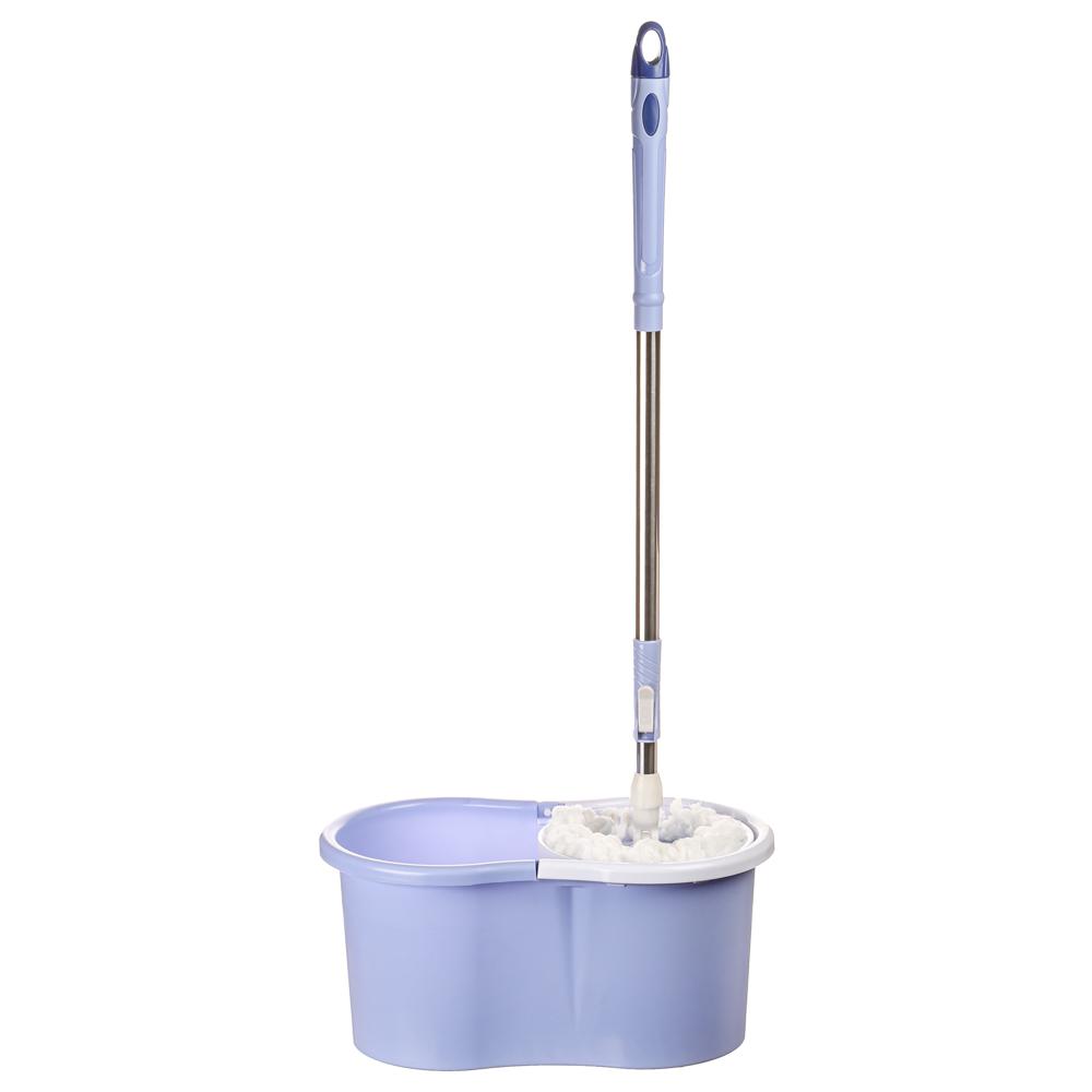 "Набор для уборки полов: ведро 9 л, швабра, дополнительная насадка, принцип отжима ""Юла"", пластик"