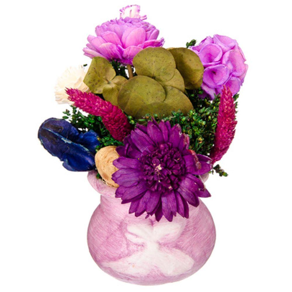 Композиция из сухоцветов в керамическом горшке, цвет фуксия
