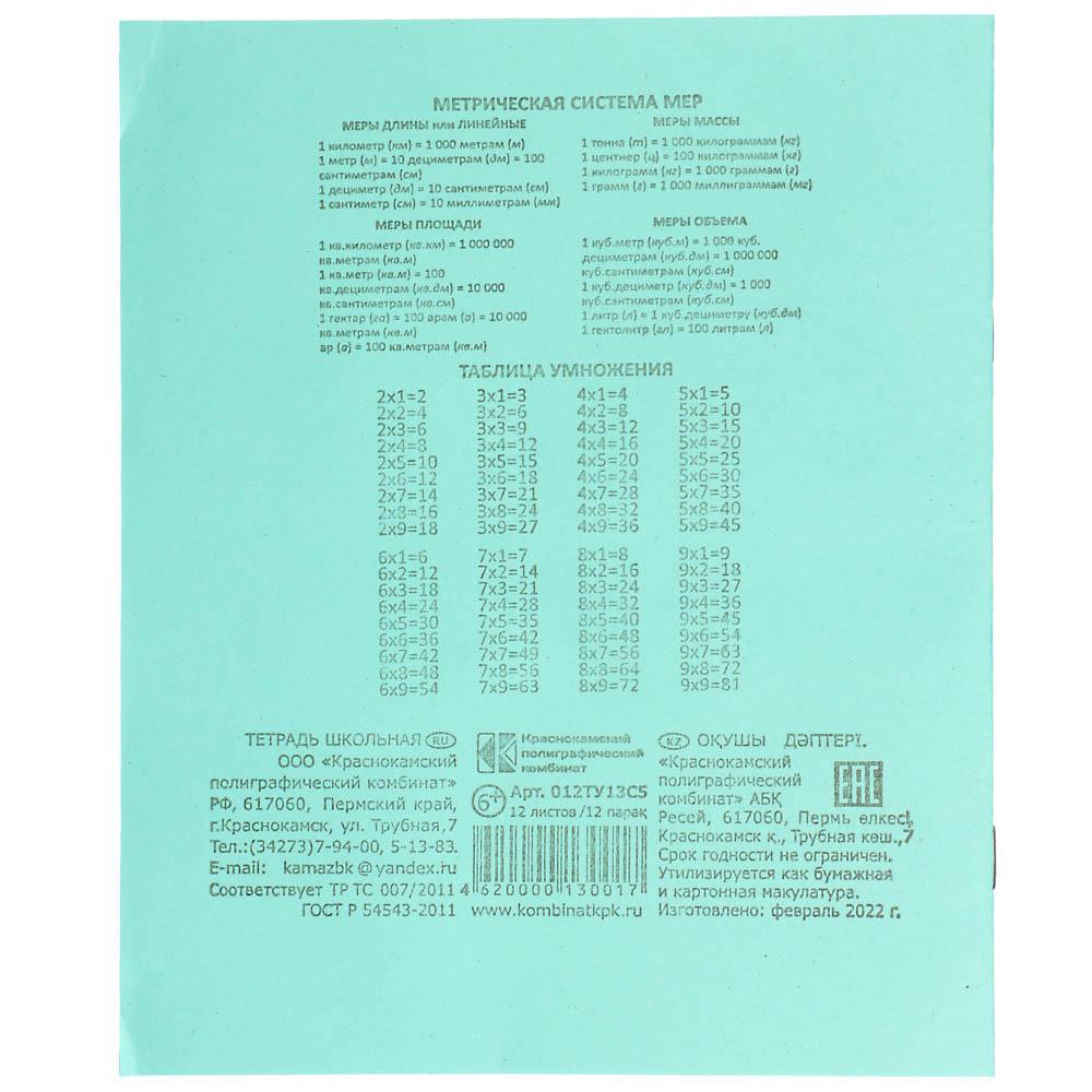 Тетрадь школьная 12 листов в клетку, зеленая обложка