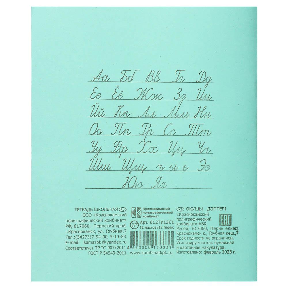 Тетрадь школьная 12 листов в линейку, зеленая обложка