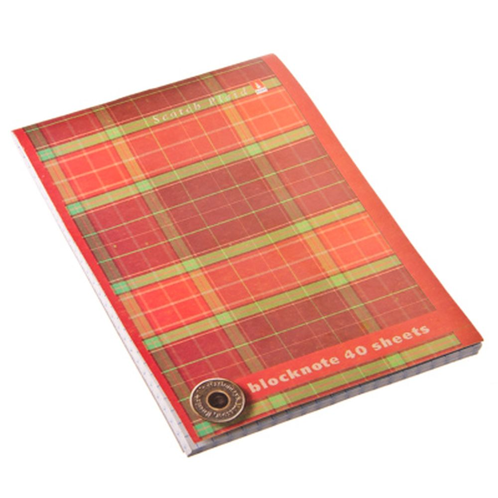 "Блокнот 40 л., А6, клетка, скрепка, картон.обл.АЛЬТ, ""Шотландка"", 3 дизайна, арт.3-40-504Д"