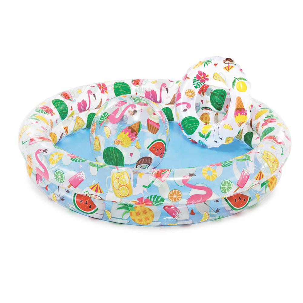 Набор пляжный 3 предмета: бассейн, круг для плавания 51 см, мяч 51 см, INTEX, 59460