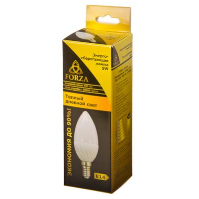 FORZA Лампа светодиодная свеча С37 5W, E14, 400lm 2700К