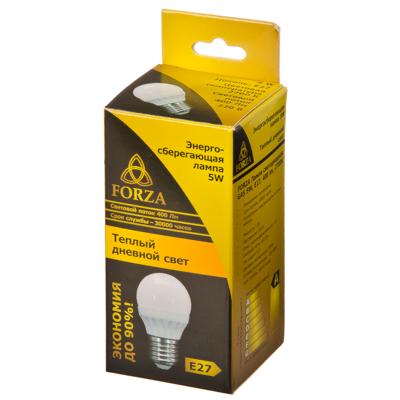 FORZA Лампа светодиодная G45 5W, E27, 400lm 2700К