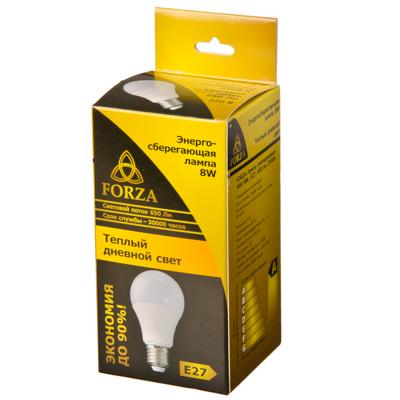 FORZA Лампа светодиодная A60 8W, E27, 680lm 3000К