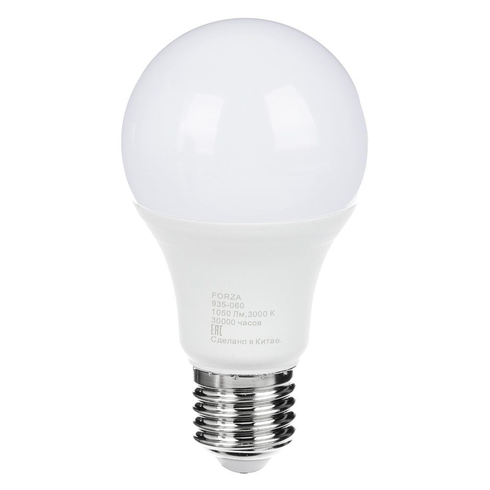 FORZA Лампа светодиодная A60 12W, E27, 1050lm 3000К
