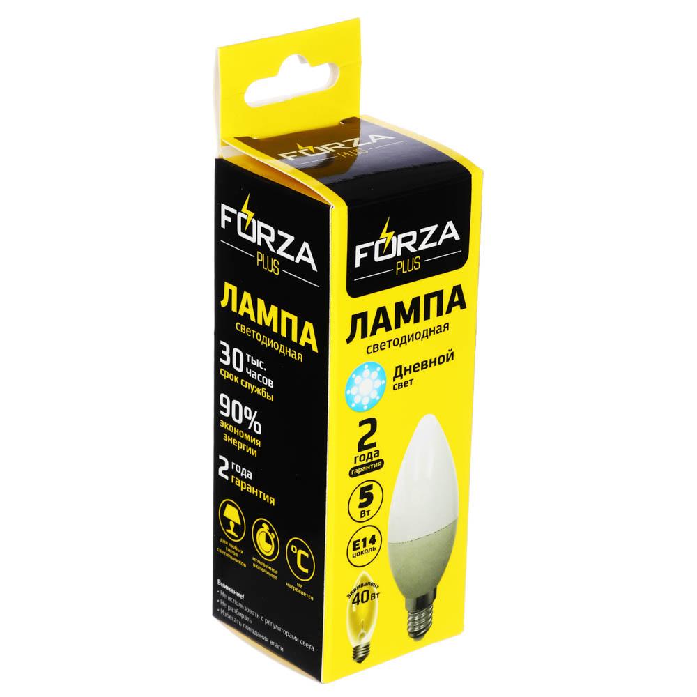 FORZA Лампа светодиодная свеча С37 5W, E14, 400lm 4000К