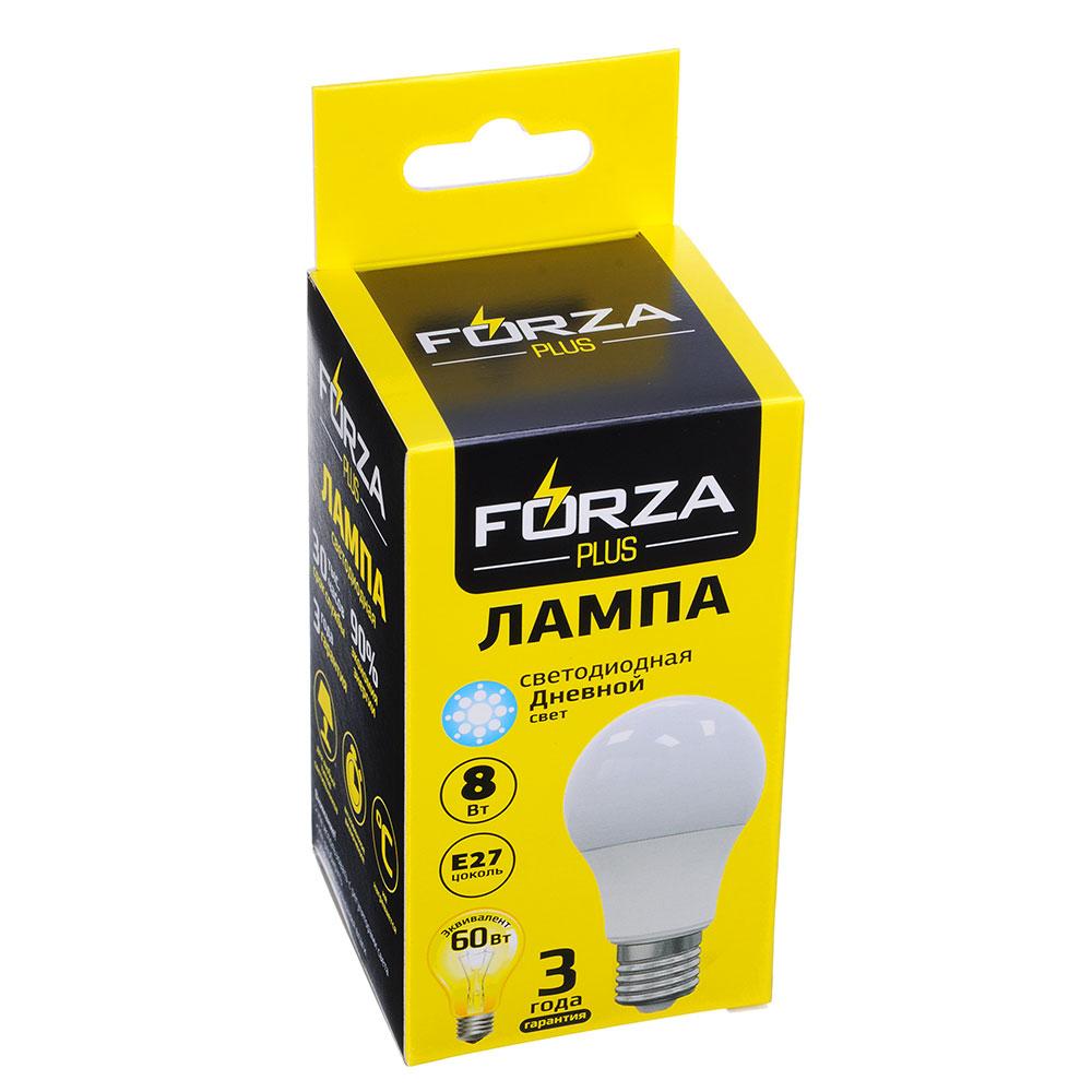 FORZA Лампа светодиодная A60 8W, E27, 680lm 4000К