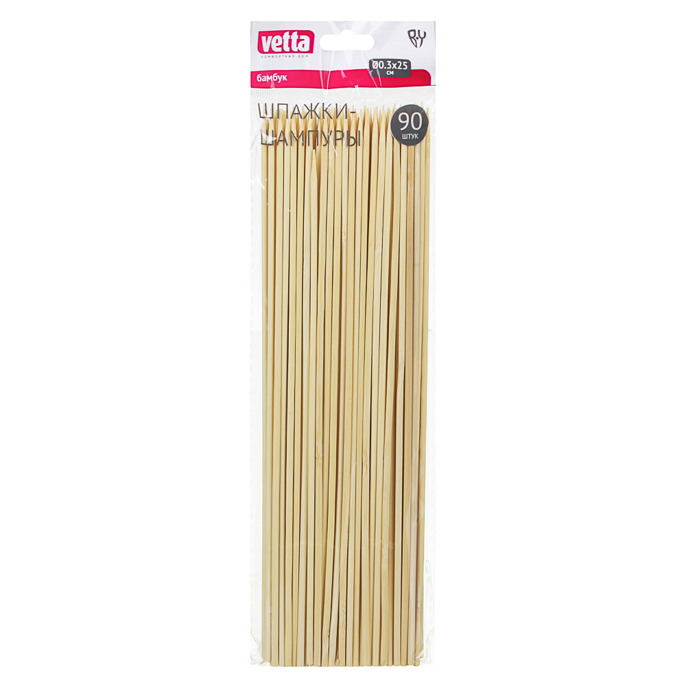 VETTA Шпажки-шампуры 90шт, бамбук, 25см, d 3мм