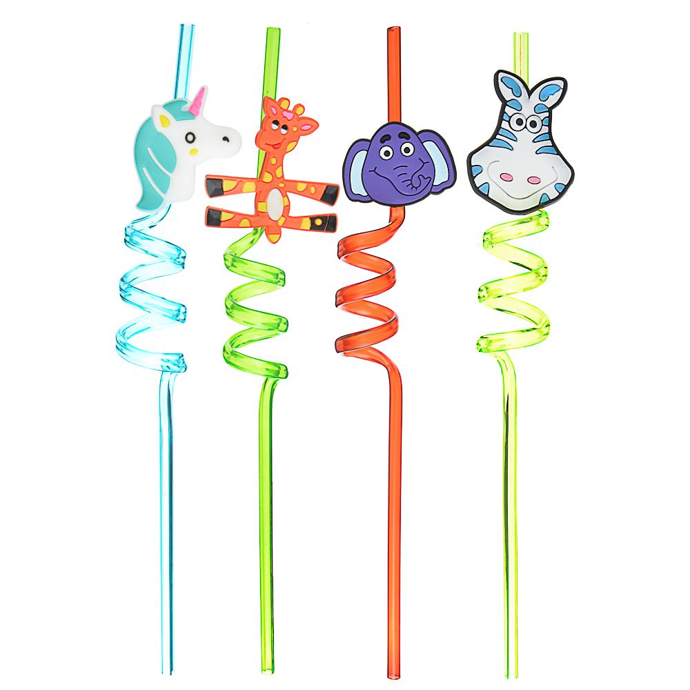 Трубочки для напитков в виде животных 4шт, пластик, 27см, 6 дизайнов