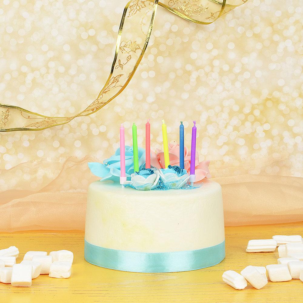 Набор свечей для торта, 6шт, с цветным пламенем