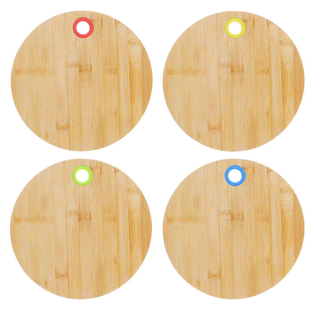 Доска разделочная деревянная VETTA, d25x1 см, бамбук/силикон