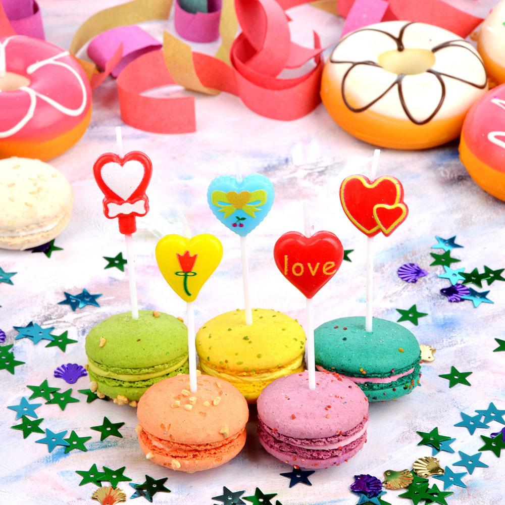 Набор свечей фигурных с сердечками для торта, 5шт, парафин, 10х8х2см, Капитан Весельчак