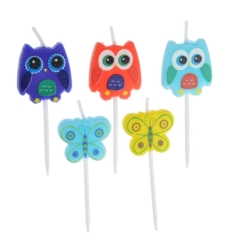 Набор свечей фигурных с бабочками и совами для торта 5шт, парафин, 10х8х2см, Капитан Весельчак
