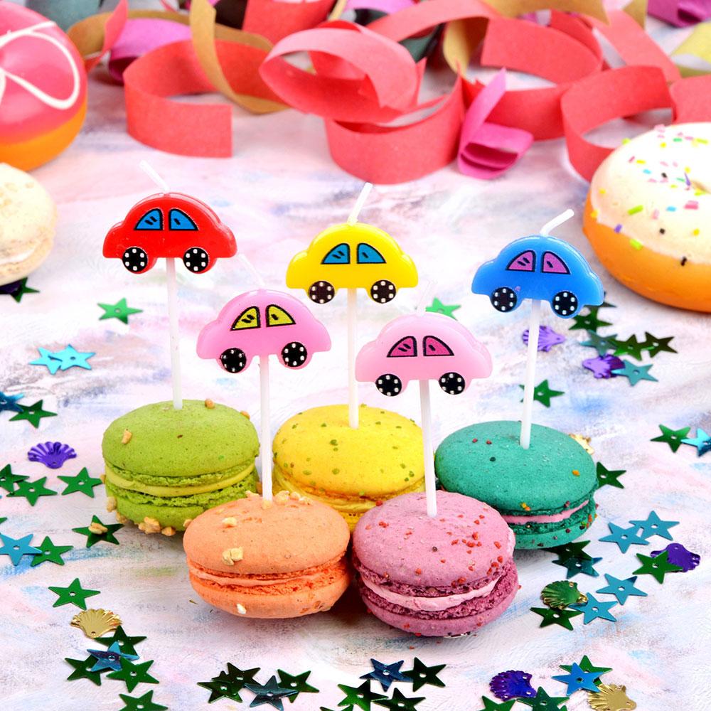 Набор свечей фигурных с машинами для торта 5шт, парафин, 10х8х2см, Капитан Весельчак