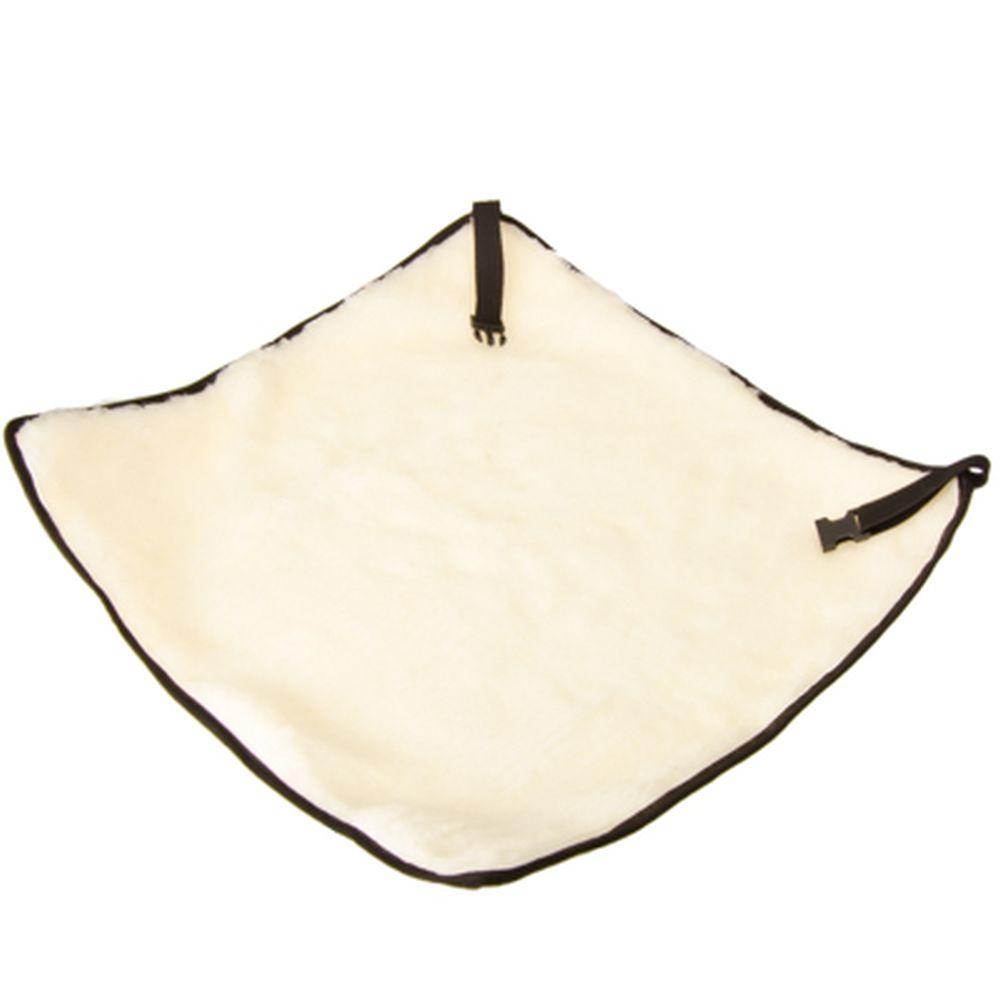 ЕРМАК Накидка на сиденье меховая без спинки (ворс 4см) 50х50см, бежевая, 1шт