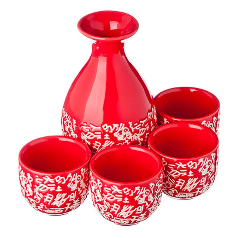 Набор для саке, 5пр, керамика, красно-белый