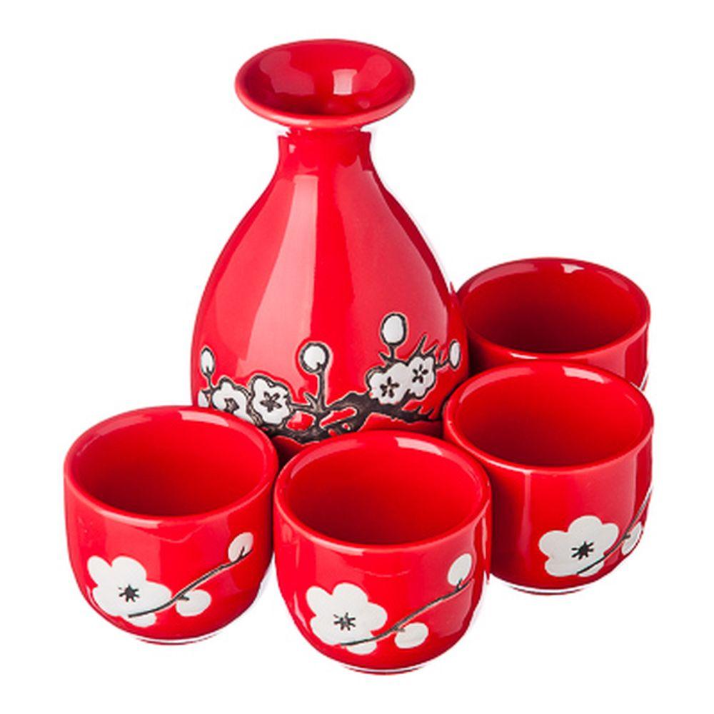 Набор для саке, 5пр, керамика, красный с белыми узорами