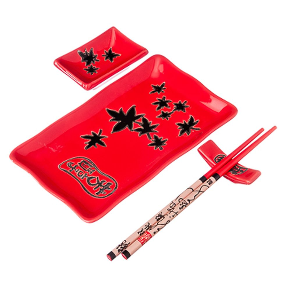 Набор для суши на 1 персону, 4пр, керамика, красный с черным узором, F027-10