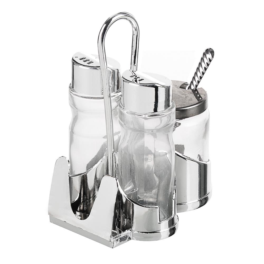 """Набор для соли, перца и горчицы с салфетницей, стекло, пластик, металл, h13см, """"Комфорт"""""""