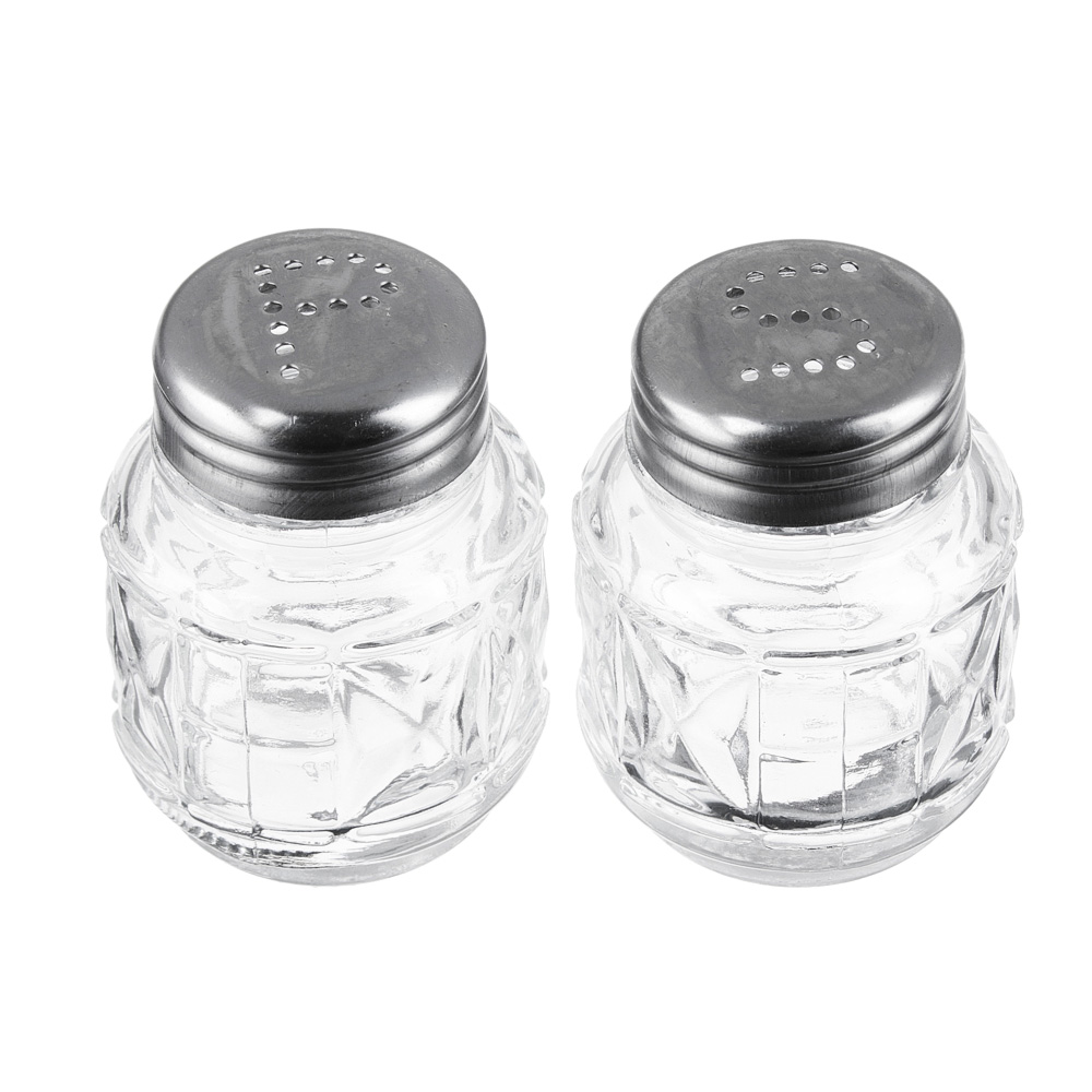 """Набор для соли и перца на подставке, стекло, металл, h6см, """"Практик"""""""