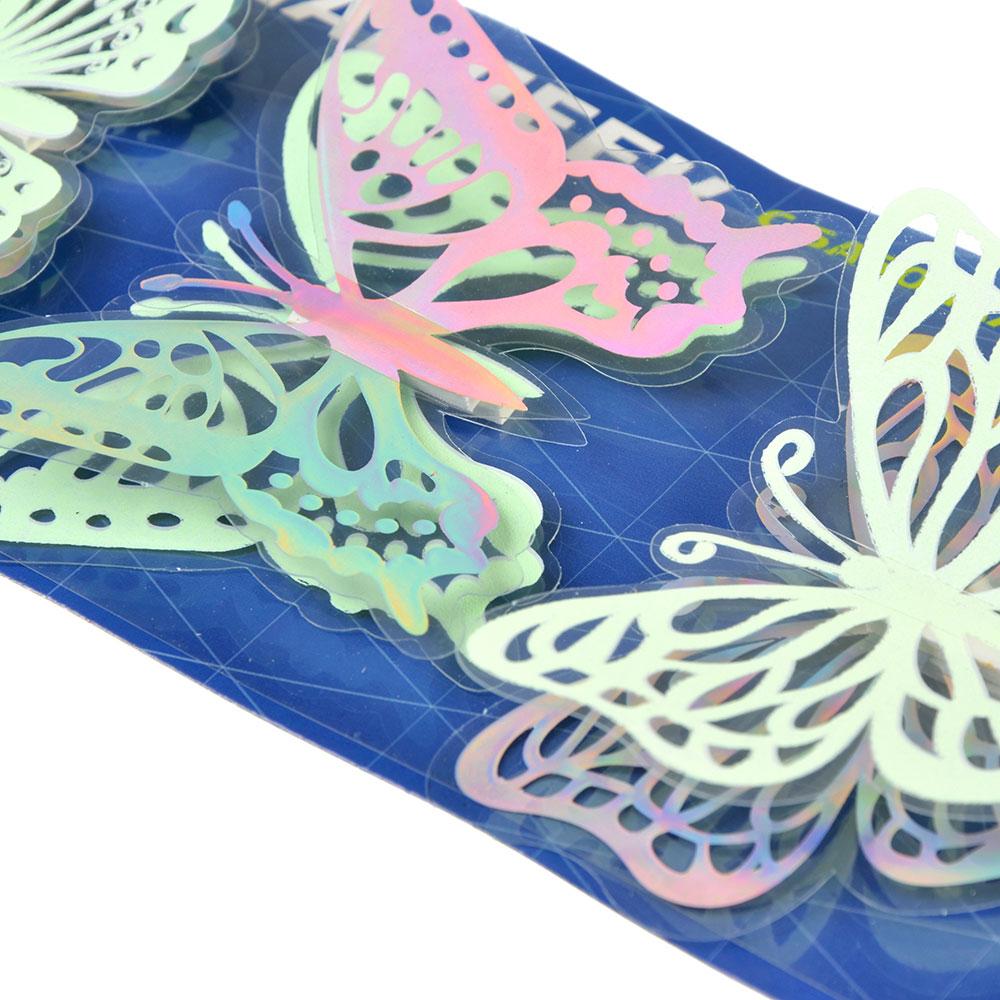 Набор наклеек 4шт, с бабочками, флуоресцентная, 38х11см, 2 дизайна, ПВХ, арт.15-01