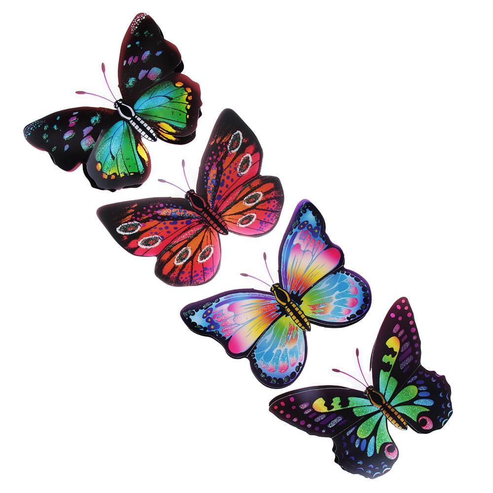 Набор наклеек 4шт, с бабочками, 40х13см, 2 дизайна, ПВХ, арт.15-02