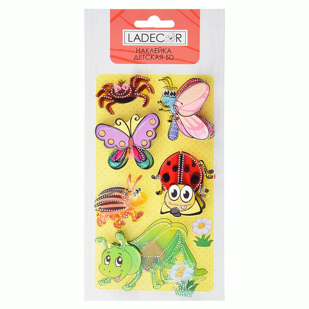 Наклейка детская 5D, 23х11см, пластик, бумага, 6 дизайнов, арт.12-00