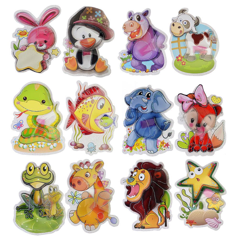 """Наклейка детская 5D, 15х11см, пластик, бумага, """"Животные"""", 12 дизайнов, арт.12-02"""