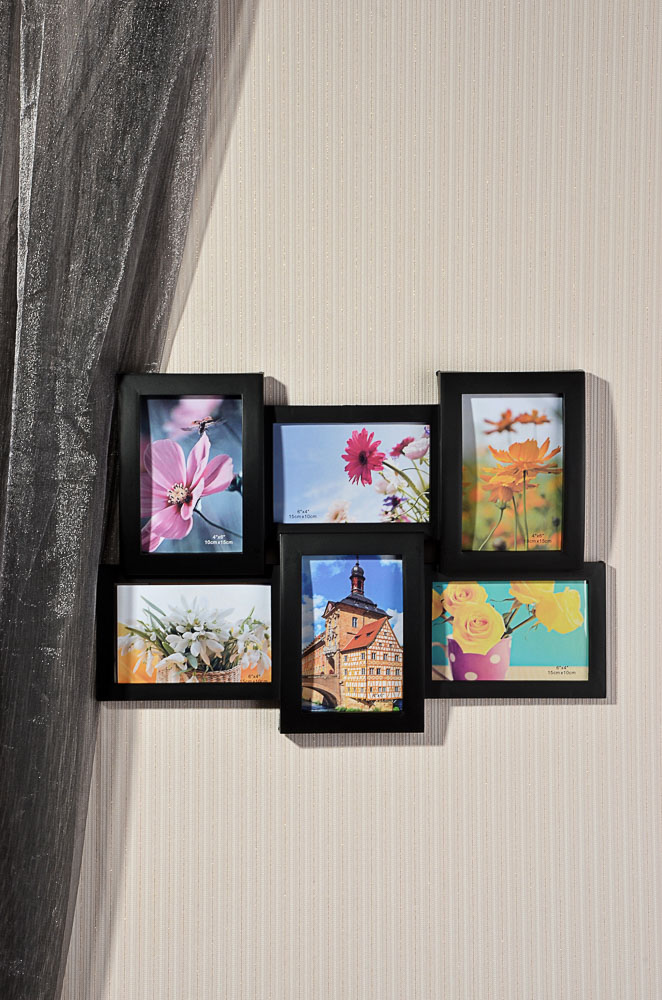 Фоторамка на 6 фотографий объемная, пластик, 46х32см, 2 цвета, арт.17-03